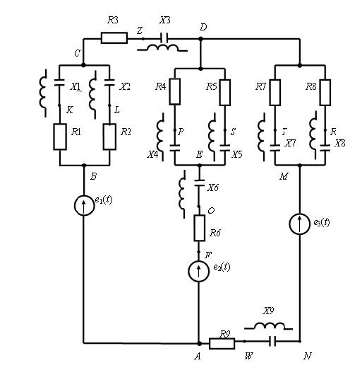дана схема замещения электрической цепи. надо: вместо сопротивлений резистора или реактивного элемента равного ,,0...